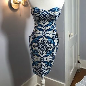 Blue and white strapless dress